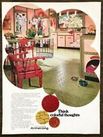 1968 Armstrong Vinyl Floors Print Ad Colorful Exotic 60s Kitchen Decor