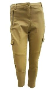 Women Ladies ex Marks and Spencer skinny cargo trousers - sand and navy