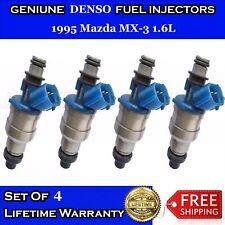 Set Of 4 OEM DENSO Fuel injectors for 1995 Mazda MX-3 1.6L  #195500-1970