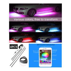 New 4PCS Car Tube Underbody Underglow Glow System Neon Light RGB LED Strip