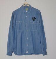 Vintage BAPE A Bathing Ape Denim Long Sleeve Shirt Made In Japan sz XL USED