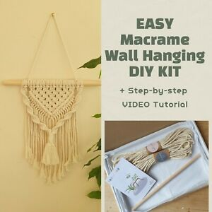 EASY Macrame Wall Hanging DIY KIT for beginners with Video Tutorial Craft gifts