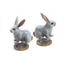 Miniature Ceramic Rabbit Figurine Ornament (Pack of Two)
