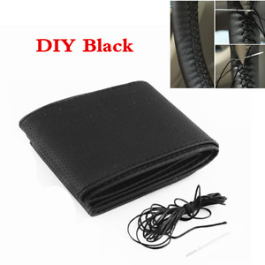 Black PU Leather Car Anti-Slip Steering Wheel Cover With Needles DIY Hand Sewing