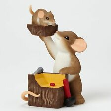 """Charming Tails Mouse 3.5"""" Figure Father Son Chip Off the Old Block #4043858 Nib"""