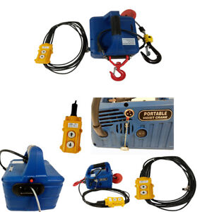 110V 7.6M Wire-controlled Electric Hoist Portable Household Electric Winch 450KG
