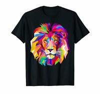 Black Elegant, Cool Lion Head Design T-Shirt with Bright Colorful 100% Cotton