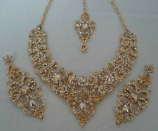 Indian Bollywood Gold Champagne Crystal Jewellery  Necklace, Earring and Tikka