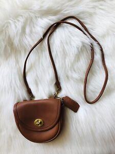 Vintage Coach Belt Bag Mini Purse Fanny Pack Tan Leather Crossbody