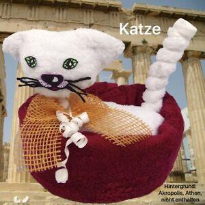 Handtuch Geschenk Figur Katze Gästetuch Waschhandschuh Gastgeschenk Ostern