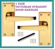 1 Victorian Straight Polished Brass Interior Door Handle Packs 114 x 42mm D21