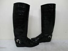 Charles David Italy Black Croc Embossed Leather Riding Boots Womens Size 6 B
