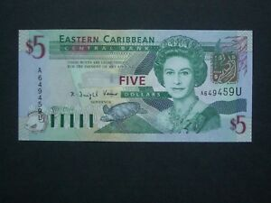 ***Superb  $5 'A' East Carribean  'AUNC' Anquilla   Banknote*****