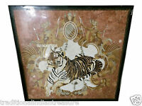 """36"""" Black Marble Dining Square Table Top Mosaic Marquetry Tiger Inlay Home Decor"""