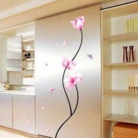 Abnehmbare Rosa Blumen Schmetterlings Wandaufkleber Zimmer Dekor Haus DIY