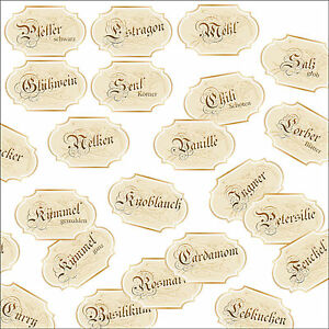 ausgefallene Gewürzetiketten, nostalgische Etiketten, Etiketten nach Wunsch