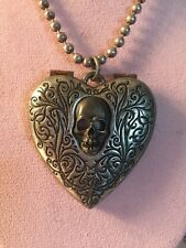 Alchemy Skull Heart Heart Mirror Pendant Vintage Gothic Necklace Steampunk