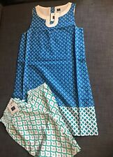 NWT Janie And Jack Blue Cotton Geometric Print Dress Pant Outfit Size 10
