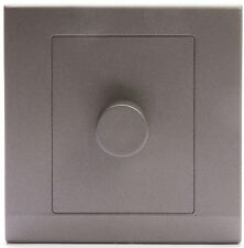 Simplicity Charcoal Screwless Rotary 1 Gang LED Dimmer Light Switch 07203