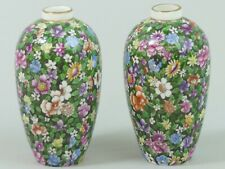 ANTIQUE PAIR OF TUSCAN CHINA FLORAL CHINTZ PORCELAIN VASES C.1910
