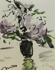 JOSE TRUJILLO MODERNIST Impressionist Abstract Watercolor Painting Flowers