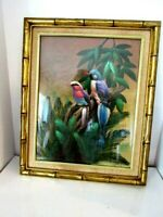 """Large Vintage Bamboo Gold Frame Bird Picture 18""""x22"""""""
