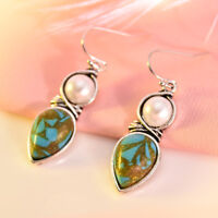 Women Vintage Silver Pearl Natural Turquoise Gems Wedding Drop Dangle Earrings