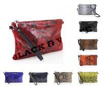 Women's Leather Snakeskin Effect Clutch Ladies Envelope Slim Design Party Bag