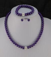 Paved Diamante Crystal Ball Glass Pearl Necklace Earrings Bracelet Set Purple
