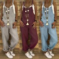 Mode Femme Combinaison Loose Sans Manche Loisir 100% coton Pants Pantalons Plus