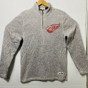 Adidas NHL Detroit Red Wings 1/4th Zip Fleece Jacket Gray/Red Mens Size:S Hockey