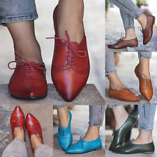 Women Casual Wing Tip Brogues Oxfords Ladies Dress Formal Lace Up Flat Shoe Size