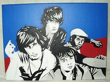 Canvas Painting The Libertines Red Blue Black & White Art 16x12 inch Acrylic