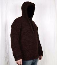 Hand Knit WOOL & MOHAIR Pullover Men Sweater HOOD * SOFT fuzzy Jumper L