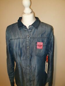 SUPERDRY Womens Blue Chambray Lightweight Cotton Shirt Size Large