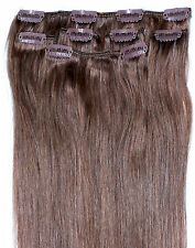 """16"""" Clip in HUMAN HAIR EXTENSIONS Light Brown #6"""