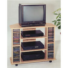 30'H Classic Design Wood Entertainment Stand With Shelf & Cd Case-Nature -Asdi