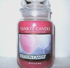 "Yankee Candle Retired ""COTTON CANDY""  Large 22 oz ~ WHITE LABEL~ NEW!"