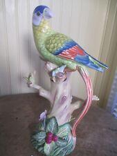 11� Parrot Andrea by Sadek Bird Porcelain Figurine Blue Yellow Tropical