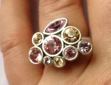 Silver Plated Pilgrim Chunky Ring Cluster 9 Swarovski Stones In 3 Shades Of Pink