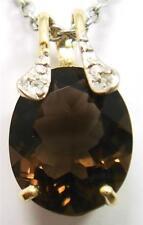 NICE 10KT YELLOW GOLD OVAL SMOKEY TOPAZ & DIAMOND PENDANT   P958