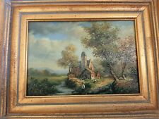 Antique Picture of Church , Bronze/gold frame finish