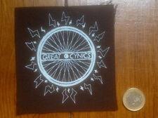 patche GREAT CYNICS Bike wheel sew black cloth patch screenprint FEEL WEIRD punk