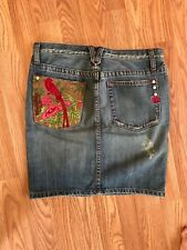 anthropologie miss me small BIRD OF PARADISE embroidered pocket denim JEAN SKIRT