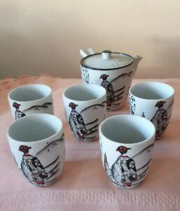 Vintage Japanese pottery beverage tea set Tea Jug and5xcups beautifully Handmade
