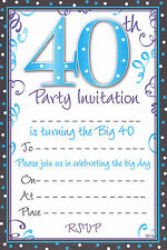 20 Special Birthday Party Invitation Sheets Choice of Designs With Envelopes 40th Male / Design a
