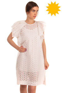 RRP€475 ISABEL MARANT Flounce Dress Size 38 M White Unlined Embroidered Eyelets