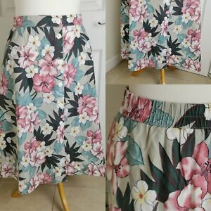 Vintage 1990s Summer Cotton C&A Tropical Floral Print Midi A Line Skirt Size 14