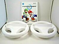 Nintendo Wii Mario Kart With 2 OEM Steering Wheels Racing - Complete