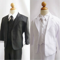WELL TAILORED NEW BOY FORMAL SUIT WITH LONG TIE BLACK WHITE TUXEDO ALL SIZES